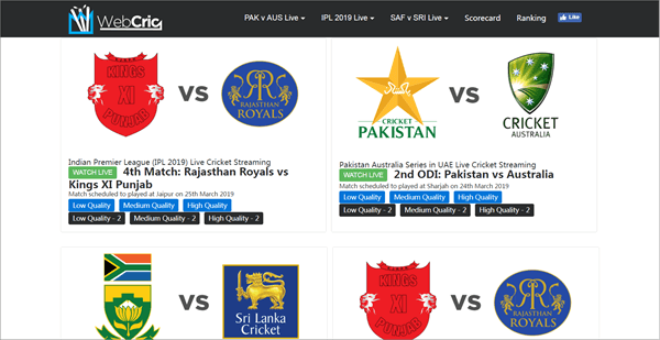 WebCric is best Streaming Sites to Watch Live Cricket Streaming and Scores.