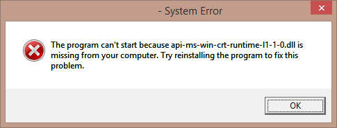 "How to Fix ""The program can't start because api-ms-win-crt-runtime-l1-1-0.dll is missing"""