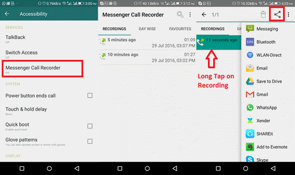 How to record WhatsApp with Messenger Call Recorder.