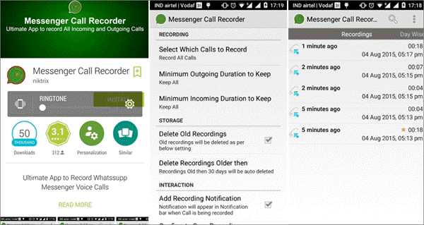 Using Messenger Call Recorder to Record WhatsApp Calls on Android.