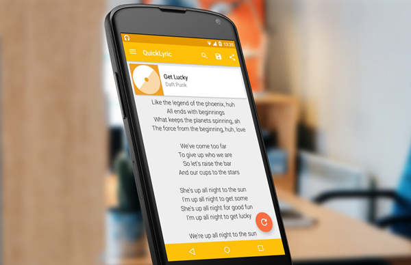 QuickLyric is best Android Apps Not Available In Google Play Store.