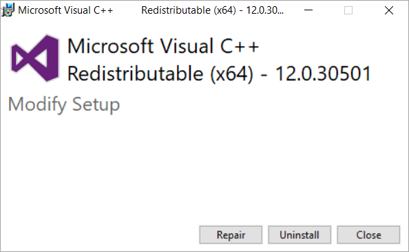 Repair Installed Visual C++ 2015 Redistributable Package.