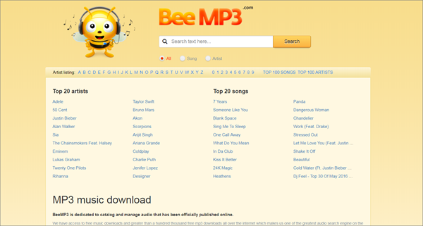 BeeMP3 is one of the top best alternatives to MusicPleer.