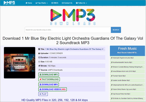 eMP3 Downloads is one of the top best alternatives to MusicPleer.