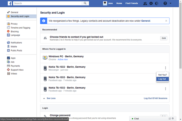 Method to log out of the Facebook Messenger from the Facebook website