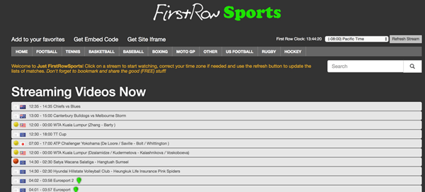 First Row Sports is Top Best Football Live Streaming Sites.