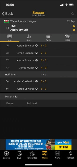 Live Score is one of the best iPhone Apps for following Soccer Live TV.