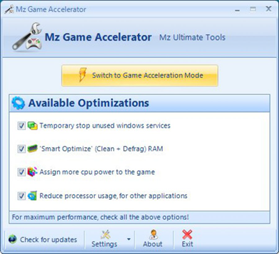Mz Game Accelerator is one of the top best Game Optimizers and Boosters for PC.
