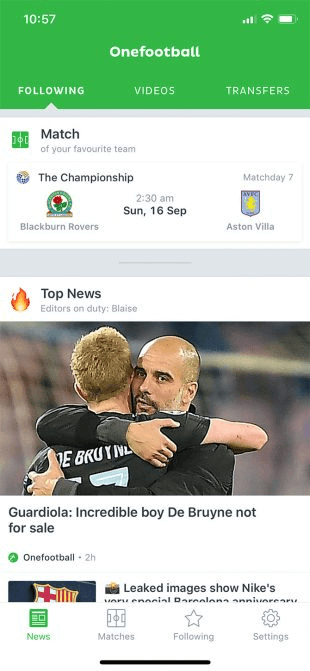 Onefootball is one of the best iPhone Apps for following Soccer Live TV.