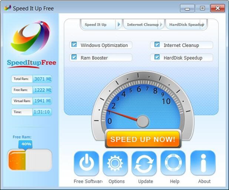 SpeedItup Free is one of the top best Game Optimizers and Boosters for PC.