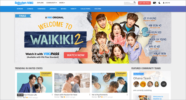 Viki is one of the best sites like KissAsian to watch asian movies/drama.