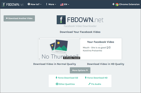 Using FBDOWN to Save Facebook Videos.