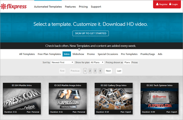 Flixpress is one of the online YouTube Intro Makers with amazing templates.
