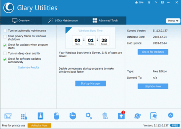 Glary Utilities Pro 5 is one of the best PC cleaning software for Windows.