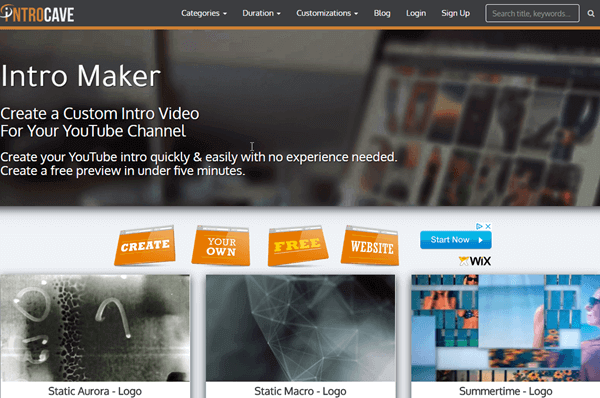 IntroCave is one of the online YouTube Intro Makers with amazing templates.