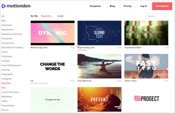 MotionDen is one of the online YouTube Intro Makers with amazing templates.