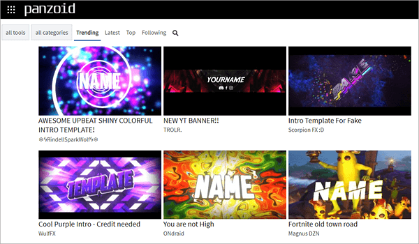 Panzoid is one of the online YouTube Intro Makers with amazing templates.