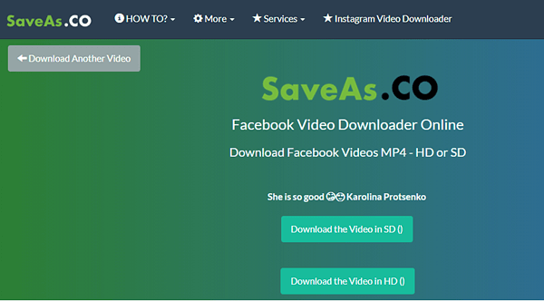 Using SaveAs.CO to Save Facebook Videos.