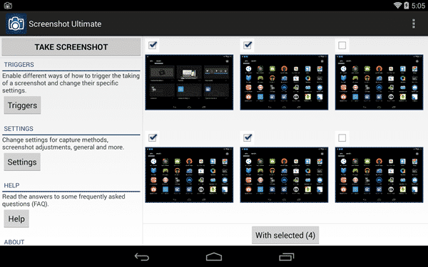 Using Screenshot Ultimate to Take a Screenshot on Android.