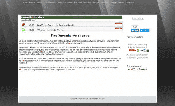 Streamhunter is one of the best Sports Streaming Sites Like MyP2P.