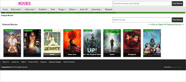 Todaypk Movies is one of the best alternative sites similar to FilmLinks4U.