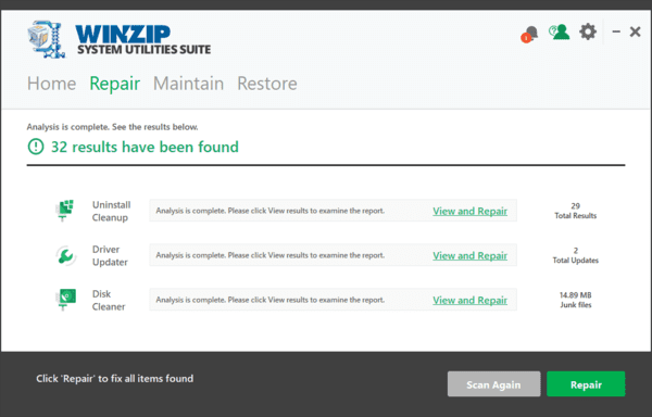 WinZip System Utilities Suite is one of the best PC cleaning software for Windows.