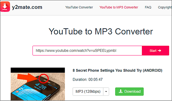 Y2Mate is one of the best free online YouTube to MP3 converters.