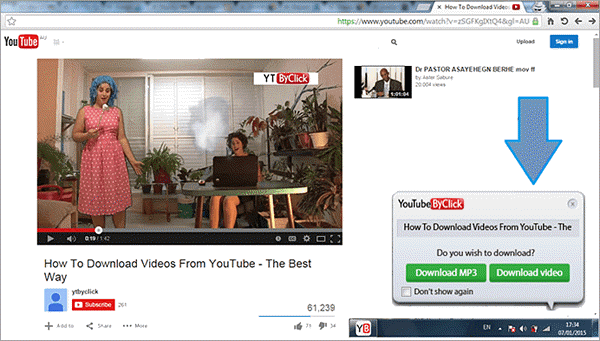 Using YouTube ByClick to download YouTube videos.