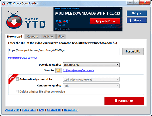 YTD is one of the best free online YouTube to MP3 converters.