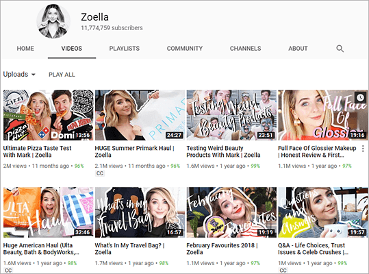 Zoella is one of the top best beauty gurus and makeup artists on YouTube.
