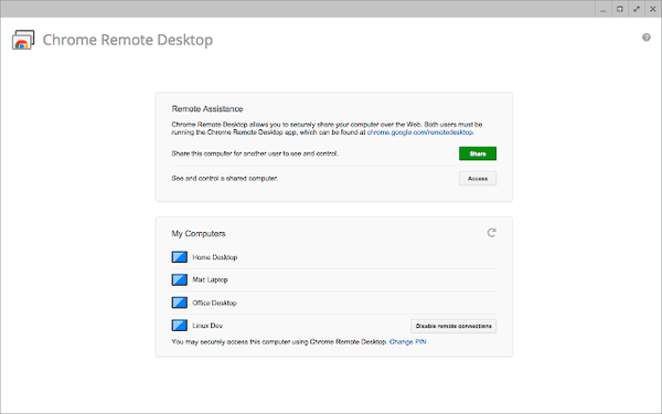 Chrome Remote Desktop is a complete cross-platform for having access to other PC online.