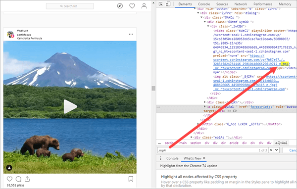 Using Chrome Source Code to download Instagram Videos.