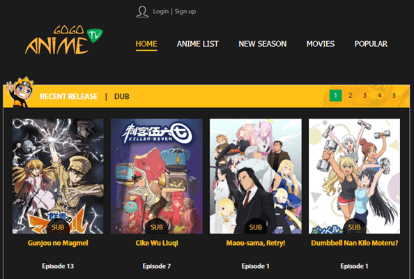 GoGoAnime is one of the best alternatives to 9Anime for watching Anime Movies and TV Shows.