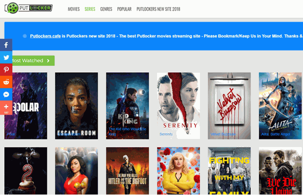 Putlockers.cafe is known for its large list of movies and TV shows which can be watched online for free without any hassle.