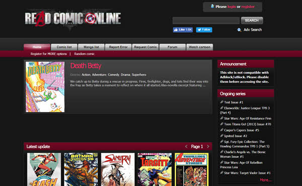 Read Comic Online has a huge catalog of comics, which enables the user to read any comic online for free.