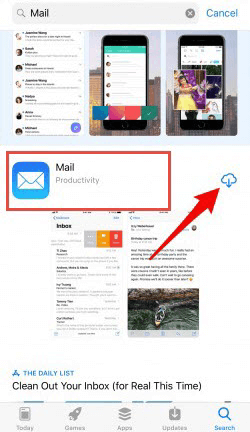 Reinstall the Mail app to bring it back to the home screen.