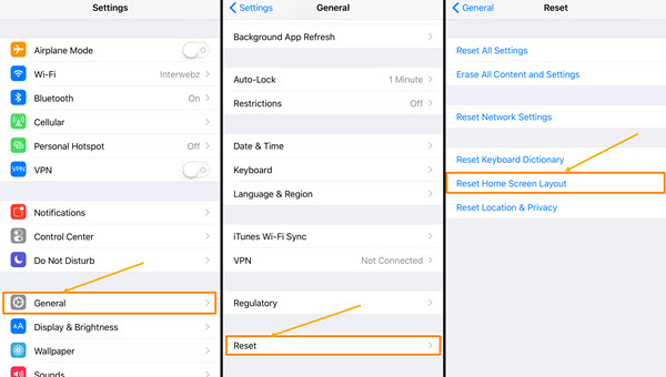 Reset the home screen layout of iPhone/iPad