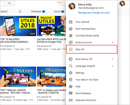 Sign out your Google Account from YouTube