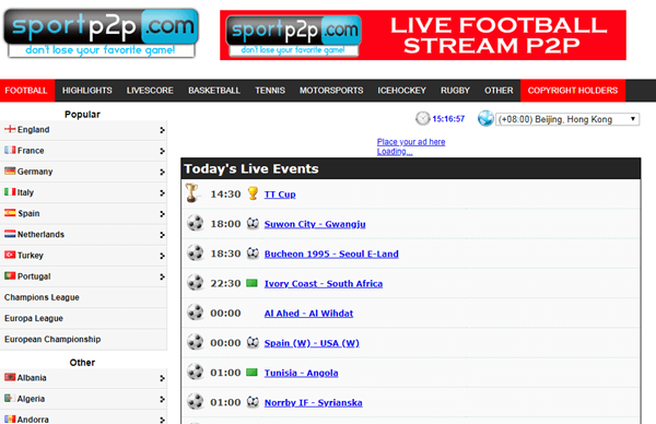 SportP2P is a popular website for live streaming sports like Football, Basketball, Tennis.