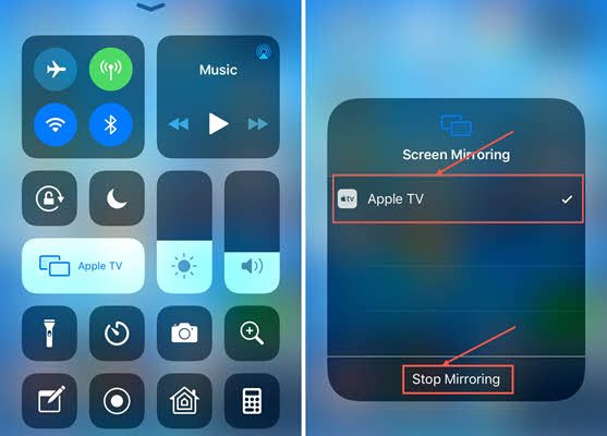 To Stop Mirroring Video from iPhone/iPad to Apple TV