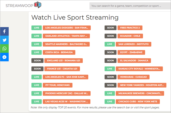 StreamWoop is popular among sports lovers owing to its world's biggest sports index.
