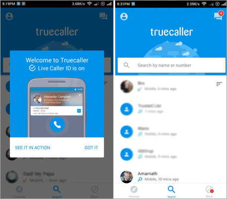Using Truecaller on Android to trace phone numbers with name and address.
