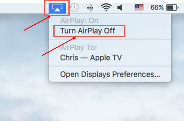 To Stop AirPlay Mirroring from Your Mac to Apple TV