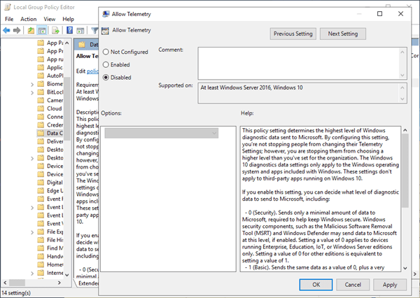 Disable Microsoft Compatibility Telemetry with Group Policy Editor