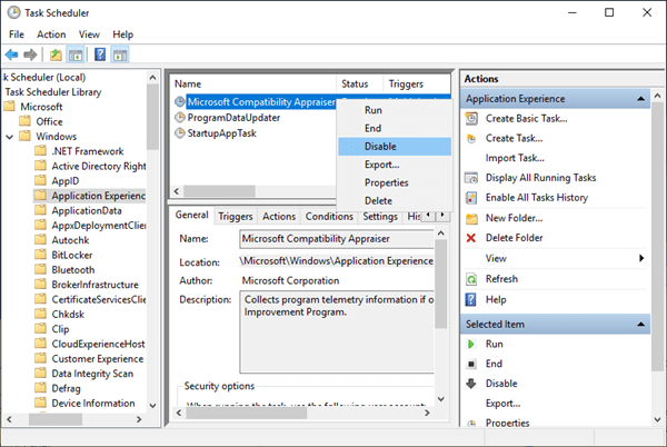 Disable Microsoft Compatibility Telemetry in Task Schedule