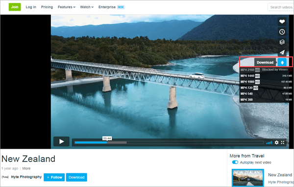 Using Vimeo Video Downloader to download videos from Vimeo.