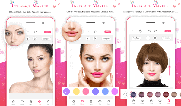 InstaFace Makeup use its smart recognition technology to make your makeup precisely and naturally fit