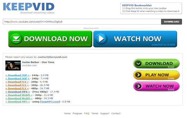 Keepvid is also the free online youtube ripper service provider as well as it provides you the video ripping history.