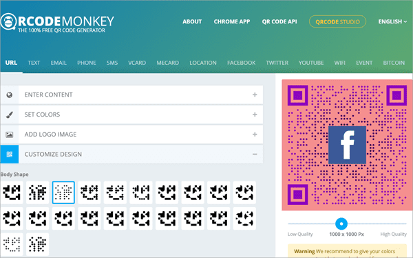 QRCode Monkey is a combination of ForQRCode and QRzebra.
