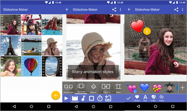 Scoompa Video Editor comes with many interesting GIF stickers which help you make your video funny and funky.